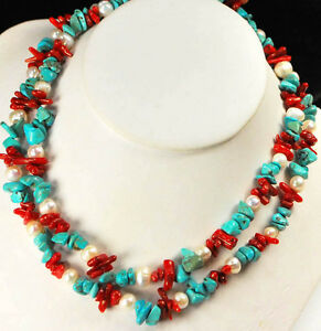 001 Ny6design 2 Strands White Pearl Blue Turquoise Red Coral Silver Necklace 23