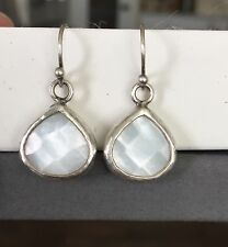 Rare Silpada Hammered Oxidized Sterling Silver Mother Of Pearl Earrings