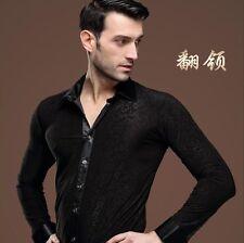New Men Ballroom Latin Tango Rhythm Salsa Dance Long Sleeve Shirt