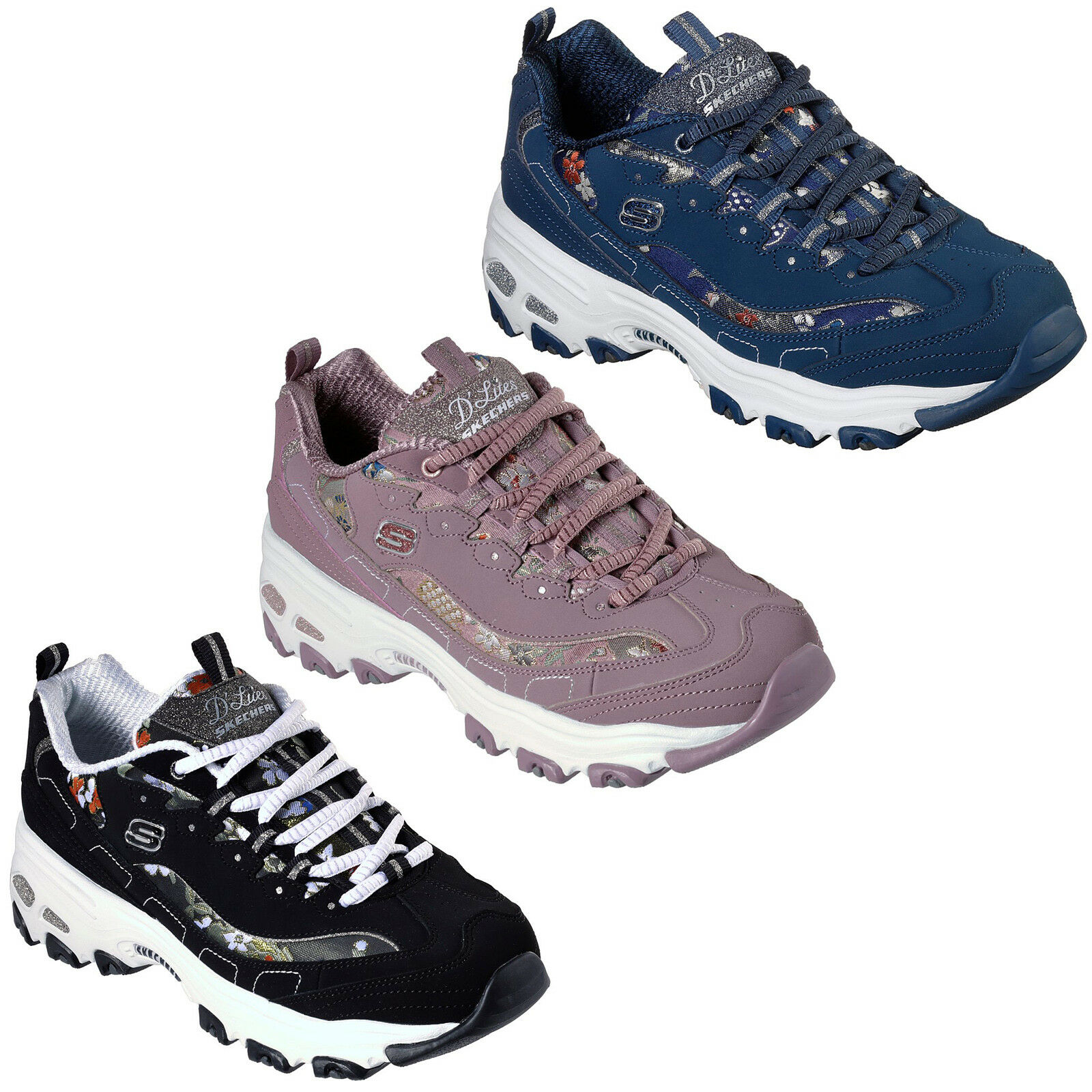 Skechers D'Lites - Floral Days Trainers 13082 Damenschuhe Memory Foam Chunky Schuhes