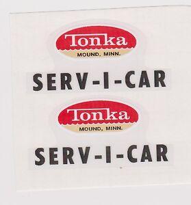 TONKA SERV-CAR DECAL SET BLACK LETTERS