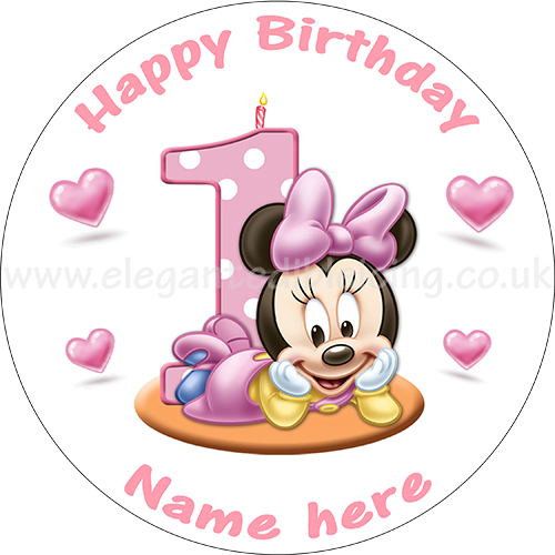 Pleasing Baby Minnie Mouse 1St Birthday Cake Personalised Edible Round Cake Funny Birthday Cards Online Inifodamsfinfo