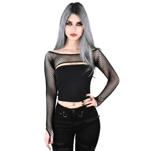 Kill Star Bite me RETE FISHNET Bolero Gothic Top Donna Nero Rete Maniche SLEEVES