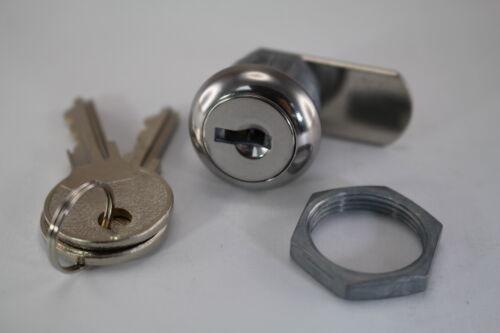 90 degree key REMOVABLE Cam Lock W//S Steel Caps 2 Keys Drawer Mailbox Cabinet