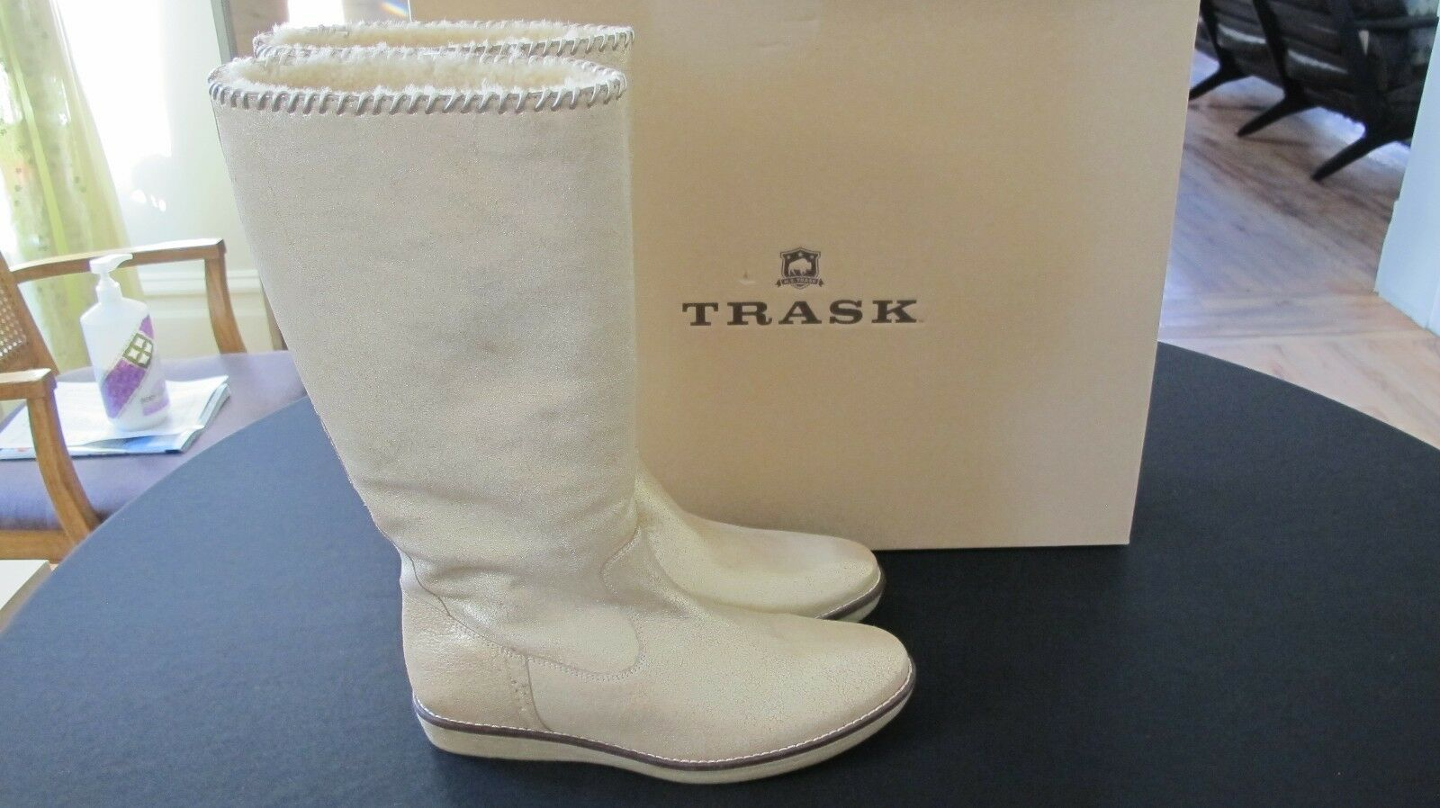 H.S. TRASK ARIANA SHEARLING gold ITALIAN BRUSH OFF INSIDE ZIP BOOTS Sz 9.5 M NWB