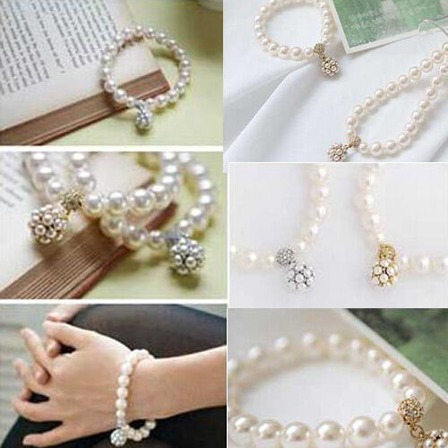 Vintage Women Pearl Ball Crystal Bracelet Rhinestone Jewelry Chain Bangle New