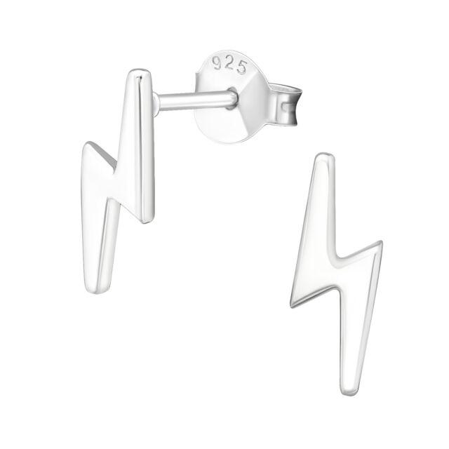Lightning Bolt Genuine Sterling Silver Stud Earrings 11mm Uk Seller For Sale Online