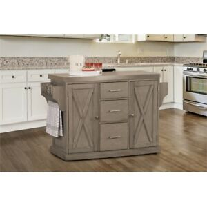 Details about Hillsdale Brigham Kitchen Island in Gray with Stainless Steel  Top