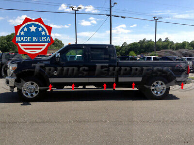 Works with 2011-2016 Ford F250 SuperDuty Crew Cab Short Bed Rocker Panel Trim 6 12PC Made in USA