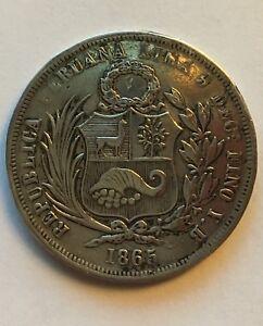 REPUBBLICA-DEL-PERU-1-2-SOL-1865-ARGENTO-SILVER-MONETA-RARISSIMA-SPLENDIDA