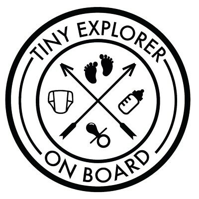 Tiny Explorer on Board Vinyl Decal Wrap Window Sticker Camping Family Baby Child