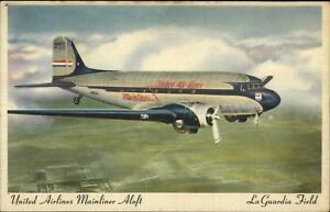 United-Airlines-Mainliner-Airplane-LaGuardia-Field-Airport-Linen-Postcard