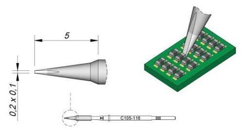 C105-116 0.2mm x 0.1mm JBC Tools Nano Soldering Cartridge