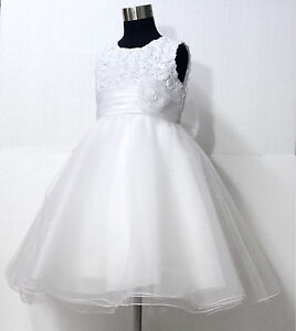Whites-Christening-Bridal-Pageant-Flower-Girls-Dresses-SIZE-1-2-3-4-5-6-7-8-10Y