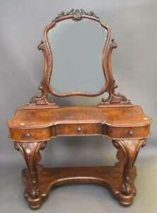 English-Ladies-Vanity-Burr-Walnut-Wood-Heavily-Carved-with-Mirror