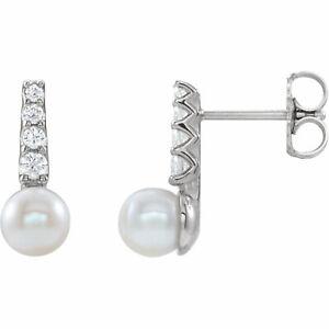 Freshwater Cultured Pearl & 1/6 CTW Diamond Earrings In Sterling Silver