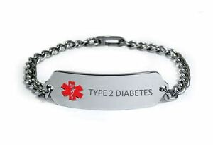 Image Is Loading Type 2 Diabetes Medical Alert Id Bracelet Free