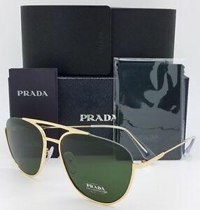 f3df43ddb38c New Prada sunglasses PR50US 5AK1I0 56mm Gold Green Grey Aviator PR ...