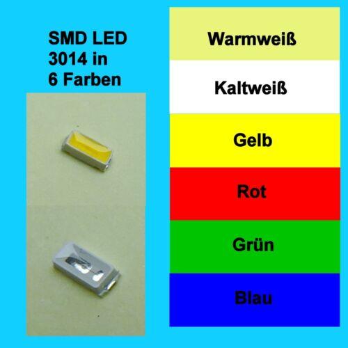 SMD LED 3014 in 6 verschiedenen Farben 1//10//25//50//100 Stück zur Auswahl