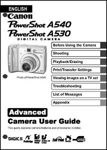 canon powershot a530 a540 digital camera user guide instruction rh ebay com Canon A530 Memory Card Canon PowerShot A530 Review
