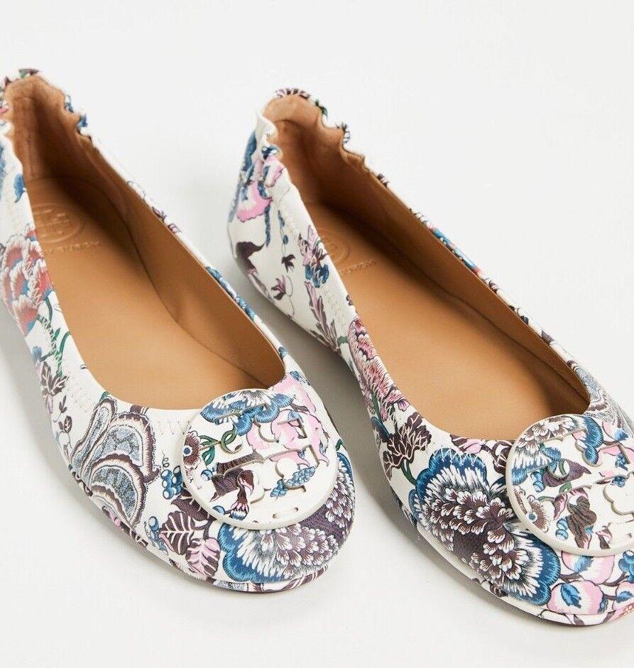 Nuevo Nuevo Nuevo Tory Burch Minnie viaje Ballet Zapatos sin Taco Sin W Logo feliz veces blancoo Azul 9.5 10  online barato