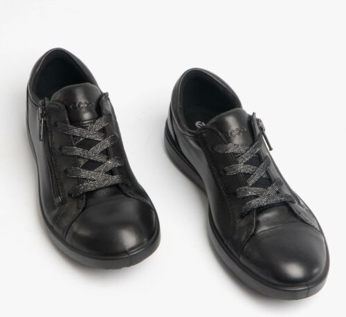 ECCO ELLI Girls Stylish Cosy High Quality Leather School Lace Up Trainers Black