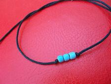 KARMASTRING black cotton tie on bracelet 3 turquoise beads beach thailand