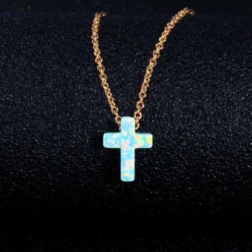 925 Silver 9 *12 MM Blue Fire Opal Gemstone Cross Pendant Necklace Wholesale