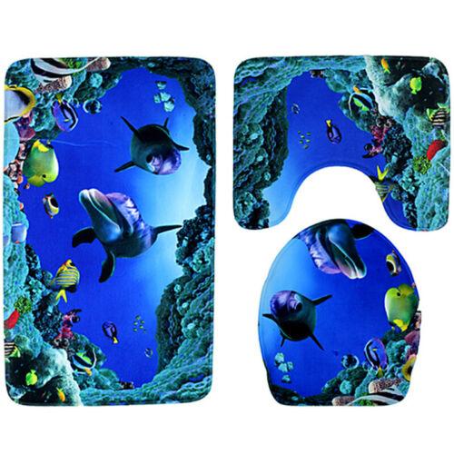 3pcs//set 3D Ocean Styles Bathroom Anti Slip Mat Contour Toilet Lid Cover Carpet