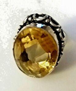 Anello-argento-misura-9-mm-18-10-QUARZO-CITRINO-ct-50-mm-27-x-18-STIMA-299-00
