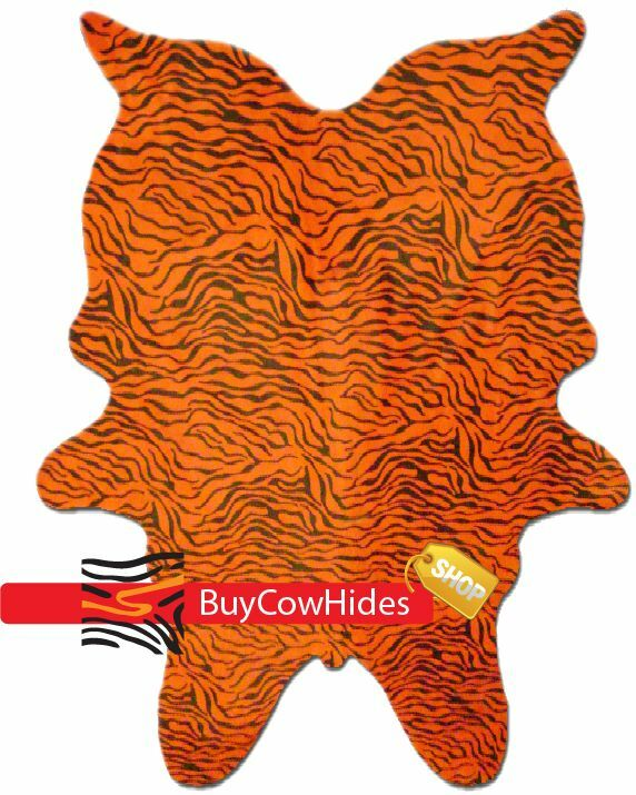 NEW BRAZILIAN PRINTED BABY ZEBRA ON rosso COW HIDE RUG LARGE Interior Decor Living