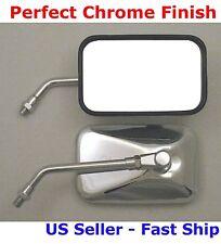 Pair Chrome Rectangular Motorcycle Mirrors - Suzuki Intruder VL800 VS1400 VL1500