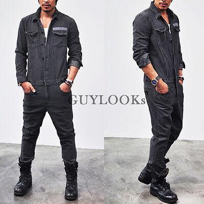 Workwear Mod Retro Vintage Washed Black Utilitarian Jumpsuit by Guylook