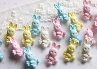 10 Bunny Rabbit Buttons 20 mm Choice of Colour - White, Pink, Blue or Lemon