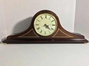 The-Bombay-Company-1992-Mantel-Clock-WORKS-GREAT-Vintage-Clock-WOOD-Case-19x3x7
