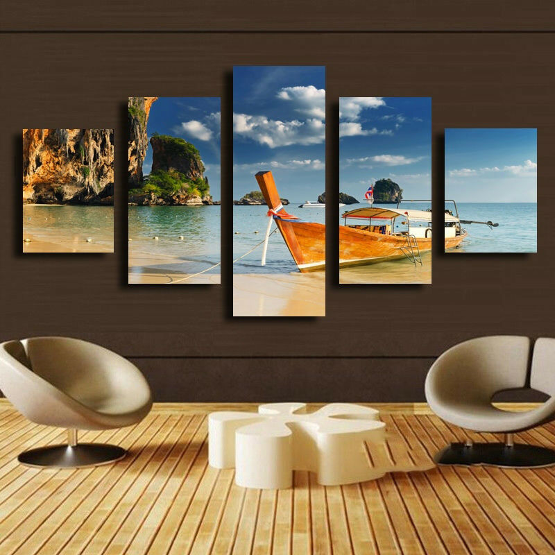 Island Hopping Boat Seascape Poster 5 Panel Canvas Drucken Wand Kunst Home Decor