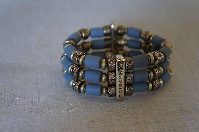 8149775537 NEW Jenny Bird Tibetove Cuff Bracelet Gold & Hand Carved Wooden Beads Grey  | eBay