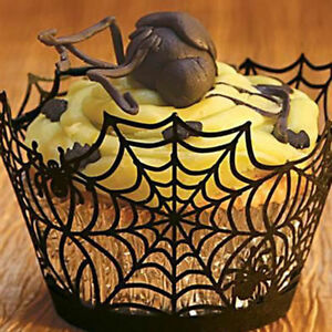 12Pcs-set-Halloween-Spider-Cake-Topper-Cupcake-Wrappers-Paper-Favor-Party-Decor