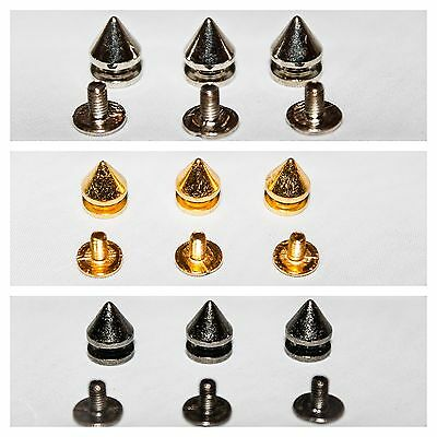 7mm x 9.5mm Spike Punk Cone Screw Back Studs Rivets Brass For Leather Art Crafts