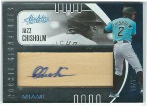 Jazz Chisholm/Marlins 2021 Panini Absolute Rookie Wood Signatures Auto #15/50