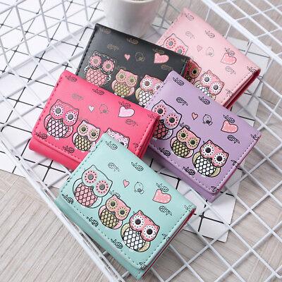 Women's Girls Owls Pattern Faux Leather Tri-fold Mini Wallet Coin Purse Newly