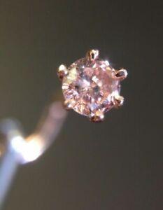 14k Pink Rose Gold Fancy Pink 10ct 3mm Natural Diamond Nose Ring