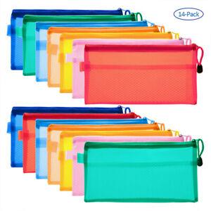 14-PCS-7-Colors-Pencil-Pouch-Zipper-File-Document-Bags-Waterproof-Double-Layer