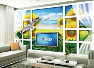 3D bluee Sky Sunflower 73 Wallpaper Mural Paper Wall Print Wallpaper Murals UK