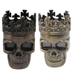 3-Layers-Cool-Skull-Metal-Herb-Tobacco-Spice-Smoking-Grinder-Hand-Crank-Crusher