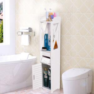 Bathroom Toilet Wood Floor Storage Corner Organizer Shelf Space