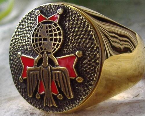 Caballeros de Colón de acero de grado Plata Anillo De Oro Pin Parche D71