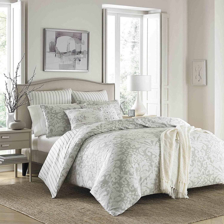 Luxurious Soft 100% Cotton grau Damask Stripes 3 pcs King Queen Comforter Set