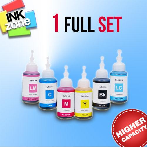 Full Colour Set of non-OEM High Yield Ink Bottles for EPSON Tank System  L1800