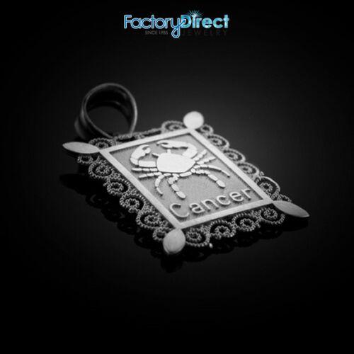 Polished White Gold Cancer Zodiac Sign Rectangular Pendant Necklace